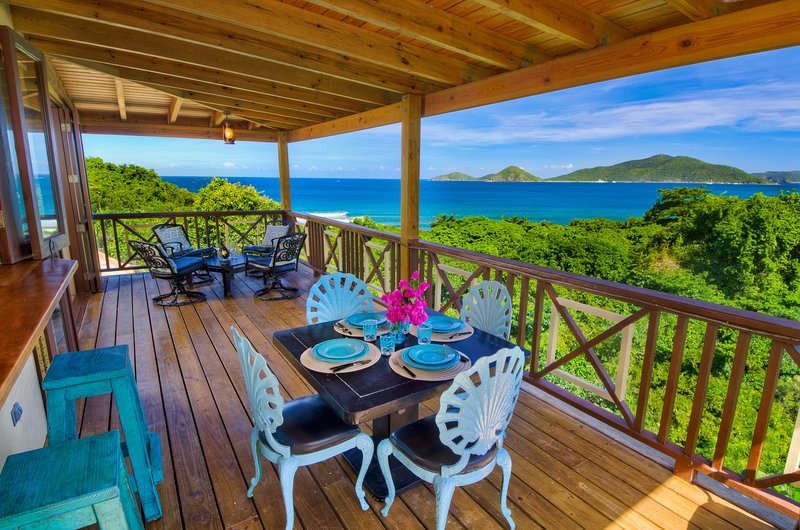 Living room balcony on the first floor, overlooking the surf. - Surfside Gardens - Spectacular Ocean Views, Steps Away from the Surf - Road Town - rentals