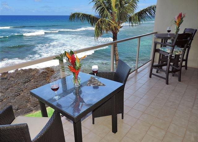 "Lanai - Kuhio Shores 418 - Oceanfront Two Bedroom ""Penthouse"" Poipu Condo - Poipu - rentals"