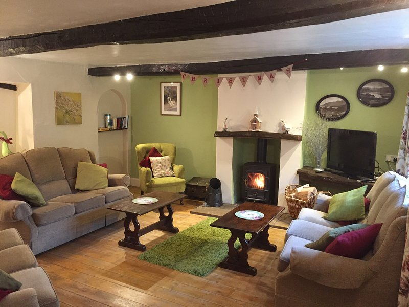 Brook House 1 lounge with cosy woodburner stove - Village cottage, log fire,stream,ducks-BrookHouse1 - Keswick - rentals