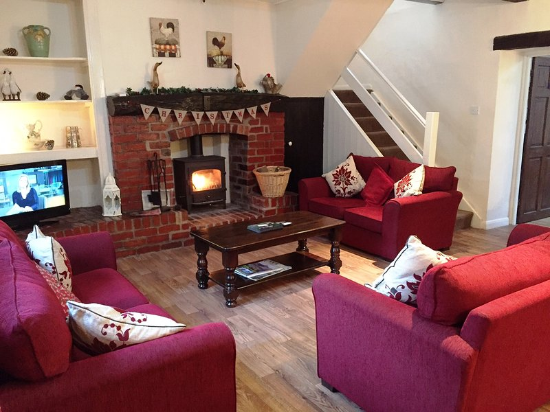 Brook House 2  lounge with woodburner stove - Village cottage: log fire,stream&ducks-BrookHouse2 - Keswick - rentals