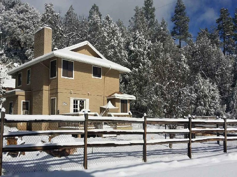 Cabin with snow. Fully fenced yard. - East Verde River Cabin: Fish, Hunt & Family Fun - Payson - rentals
