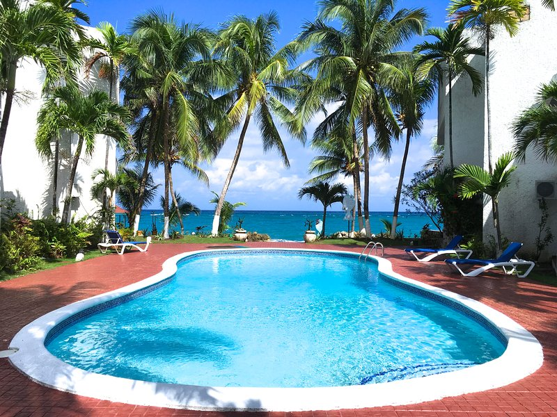 view of the ocean from pool - SPECTACULAR OCEAN FRONT VIEW, Wifi ,Pool, Beach, - Ocho Rios - rentals