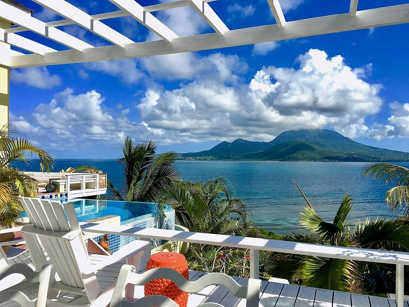 Ocean Song Villa with Nevis across the Narrows. Enjoy our spectacular view! - SPECIAL 2 FOR 1  Luxury Villa & Beach Front Lounge - Turtle Beach - rentals