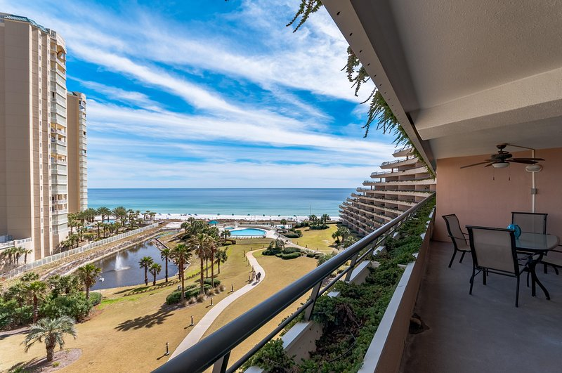 Come for the view, stay for the experience! Two large pools with views of the beach! And a snack bar at the lower pool with waterfall (not shown but it is there) - Edgewater Condominiums 801 Miramar Beach - Miramar Beach - rentals