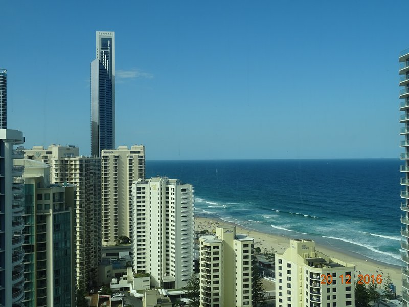Q1 2701 View from Living room - Q1 Resort, 3 Bedrooms, 2 baths, Ocean View, FREE Wifi, Secure parking. Huge area - Surfers Paradise - rentals
