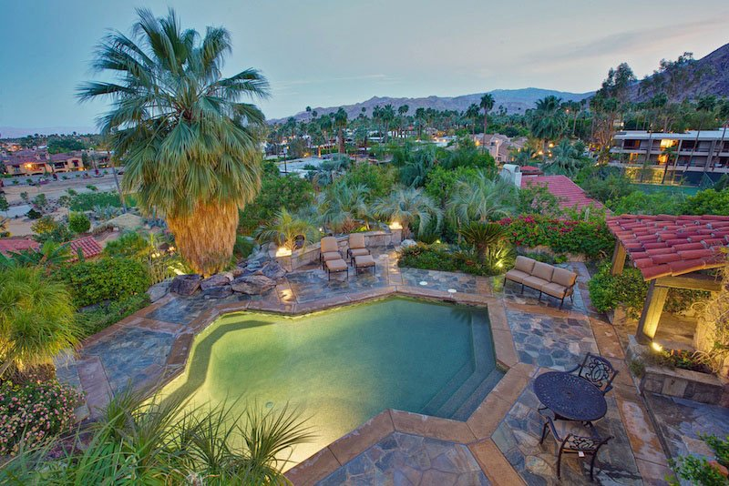Main House Aerial Pool View at Dusk - Colony 29 Resort – 8 Bedroom Main House Grouping - Palm Springs - rentals