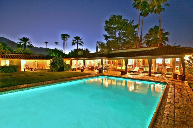Pool and Home at Night - Paradise Cove - Palm Springs - rentals