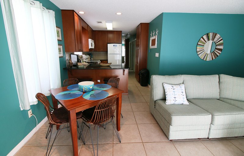 Open floor plan includes dining area and open kitchen - Beachside- Best Condo ground floor Bldg 1 - Santa Rosa Beach - rentals
