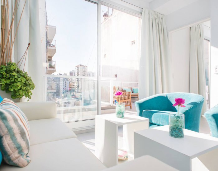 Buenos Aires - Light Blue Terrace - Living Room - Elegant 1 Bedroom Apartment in Palermo Soho - Buenos Aires - rentals