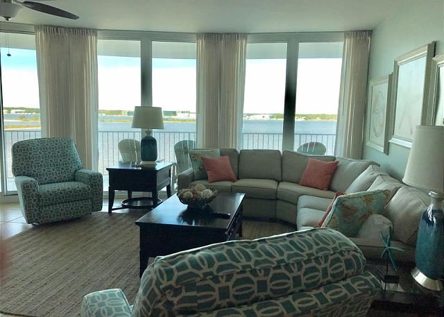 Living Room 1 - Caribe C604 - NOW OPEN * March 31 - Caribe Resort is Family Friendly - Orange Beach - rentals