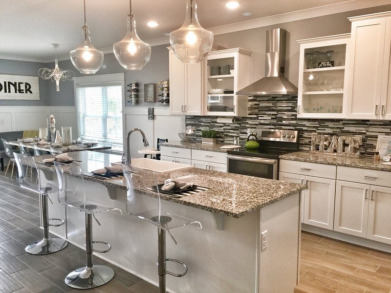 Gourmet Kitchen with Large Island and 5 Barstools - 2016 Beach Home w/Elevatr, Heated Pool, Rainshower - Hilton Head - rentals