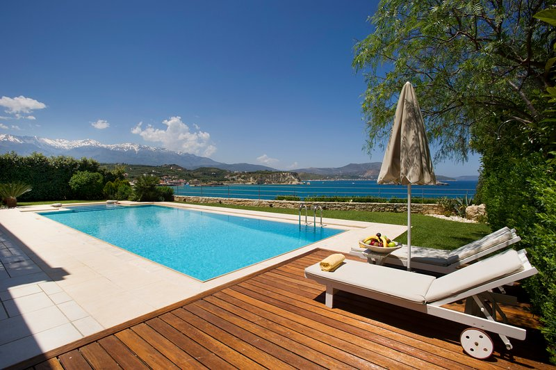 Front Pool Area - SK Place Luxury Seafront Villas - Villa Ammos with Heated Pool - Almyrida - rentals