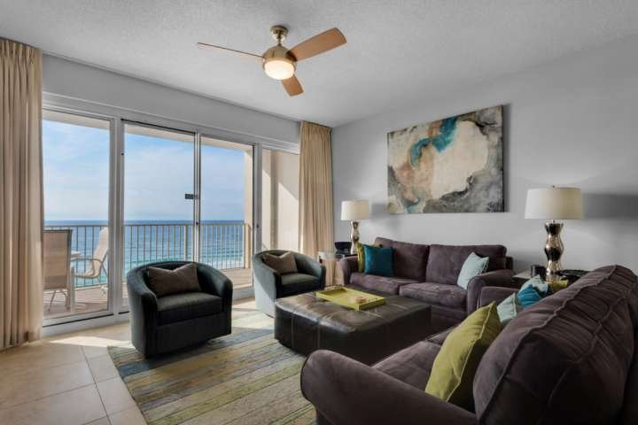 Lots of natural light in the living room - GULFRONT CONDO FRESHLY UPDATED!   BOOK THIS LUXURY GULFRONT CONDO NOW! - Miramar Beach - rentals