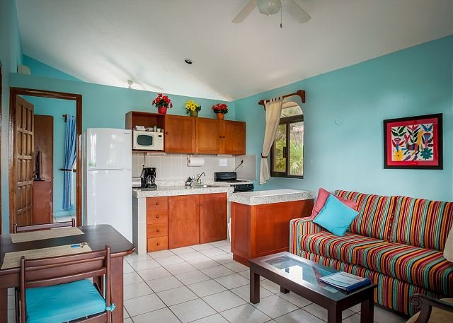 Unit #1, One bedroom with sofa bed.  - BALCONY STYLE LIVING, WALK TO TOWN & BEACH, HAMMOCKS, BIKES, POOL & HOTTUB. - Puerto Morelos - rentals