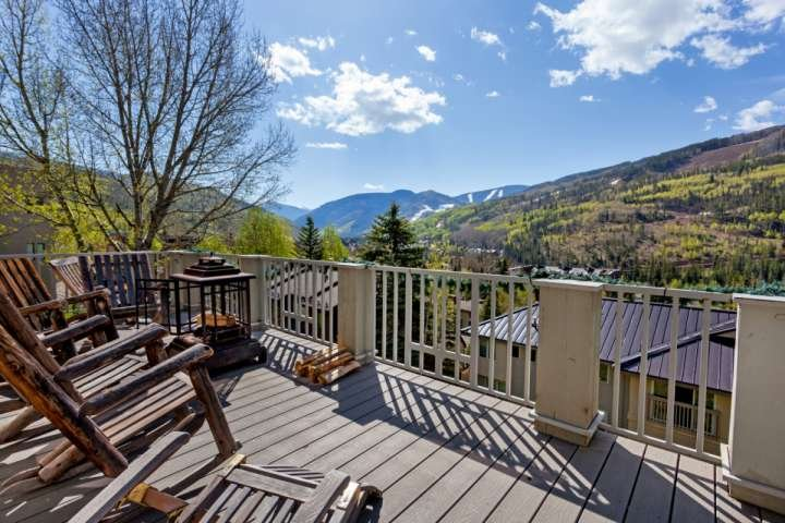 Beautiful Vail Mountain views off main level deck, with plenty of seating and fire pit. - Sandstone Single Family Home, Perfect for Large Groups, Private Hot Tub, Lg - Vail - rentals