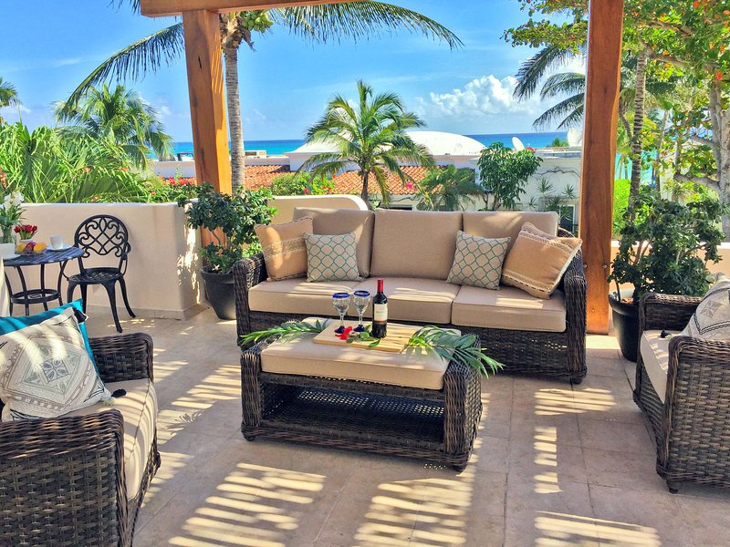 Your ocean view terrace off the master suite - Million Dollar View Beachside Villa - Azul Caribe - Playa del Carmen - rentals