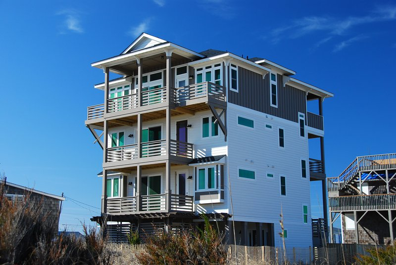 Front Exterior of Ocean Retreat Facing West from N.Virginia Dare Trail (The Beach Road)  - Ocean Retreat, Brand New,6 Bedroom, Stunning Views - Kill Devil Hills - rentals