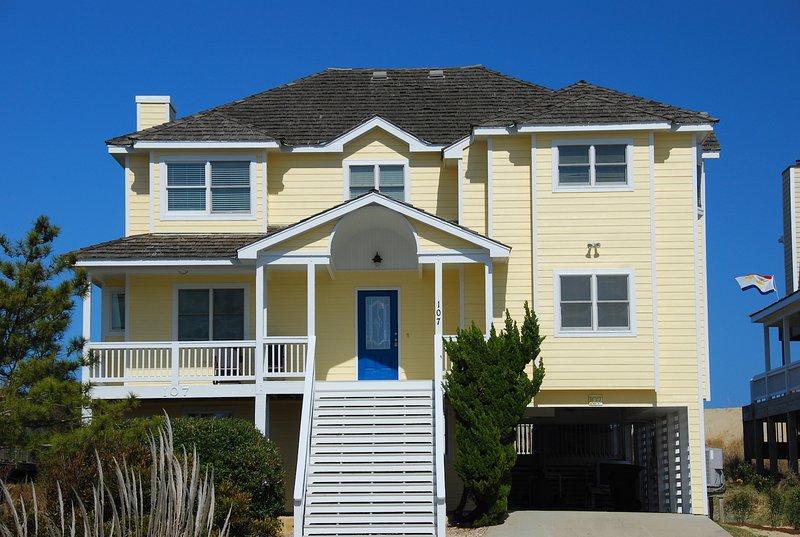 Front Exterior of Sundancer Located at 107 E. Sundancer Court, NH  - SunDancer 8 BR Oceanfront, pool, Cabana Service! - Nags Head - rentals