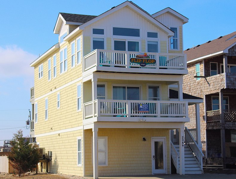 Flip Flop Located at 2046 N. VA Dare Trail Mile Post 6.25  - Flip Flop - 5 BR Semi-oceanfront - Kill Devil Hills - rentals