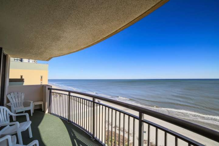 Spectacular view of the beach and ocean from this 14th floor balcony.  This isn't a model unit, this is the view you and your family will enjoy.. - The Breakers  - Paradise Tower Luxury Suite in the Heart of Myrtle Beach! - Myrtle Beach - rentals