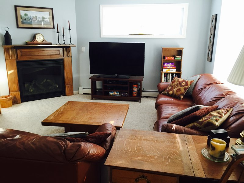 Family room with flatscreen smart TV & gas fireplace - 3+ BR  House minutes to Storyland, outlet shopping, hiking & skiing - Bartlett - rentals