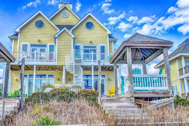 106A South Shore from beach side - S. Shore Drive 106A Oceanfront! | Hot Tub, Elevator, Internet - Surf City - rentals