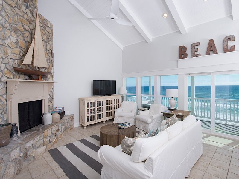 "Crisp and clean living room with the most amazing view!! - The ""Sugar Shack"" - Top Floor Beachfront - Seagrove Beach - rentals"