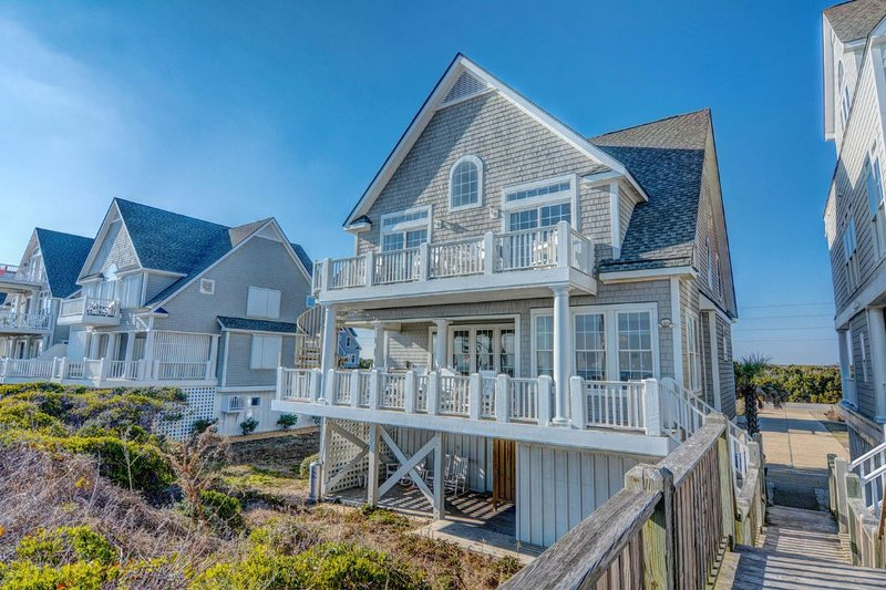 Beach View of House - Island Drive 4366 Oceanfront! | Internet, Community Pool, Hot Tub, Jacuzzi - North Topsail Beach - rentals
