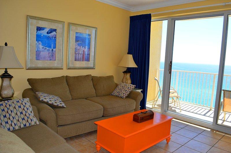 Living room. Sleeper sofa - Boardwalk Beach Resort #1707. Ocean Front condo - Panama City Beach - rentals