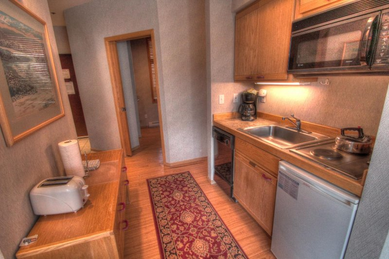 "SkyRun Property - ""2920 Riverbank Lodge"" - Kitchenette - The kitchenette features a mini fridge, dishwasher, microwave, and 2 burner stove. - 2920 Riverbank Lodge - Keystone - rentals"