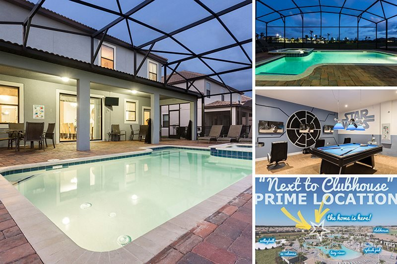 Next to Clubhouse | 8 Bed Villa in Prime Location Near Clubhouse & Pool with Private Non-Overlooked Pool, Frozen & Harry Potter Theme Rooms, Theater & Games Room - Image 1 - Davenport - rentals