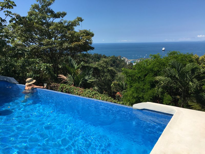 Relax in the infinity pool overlooking the Pacific Ocean and Quepos Marina!  - Voted Most Romantic Villa, Luxury Private, Ocean View, Infinity Pool - Manuel Antonio - rentals