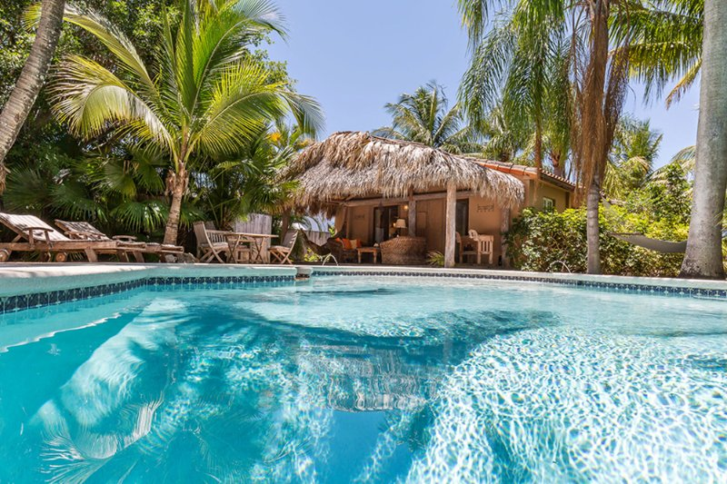 Coco Bungalow's large heated pool with spa surrounded by tropical palms. - Coco Bungalow Tropical Oasis - West Palm Beach - rentals
