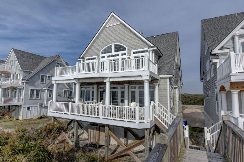 View of House From Beach - Island Drive 4256 Oceanfront! | Internet, Community Pool, Hot Tub, Jacuzzi - North Topsail Beach - rentals