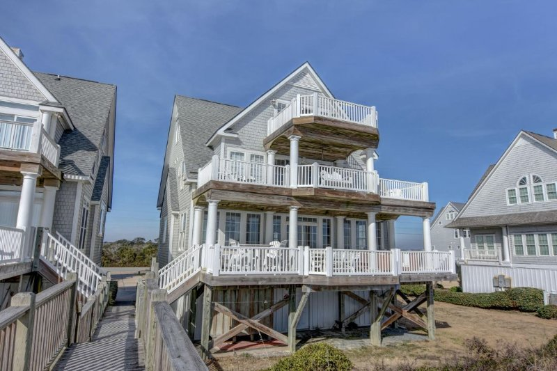 Beach View of House - Island Drive 4298 Oceanfront! | Internet, Community Pool, Hot Tub, Elevator - North Topsail Beach - rentals