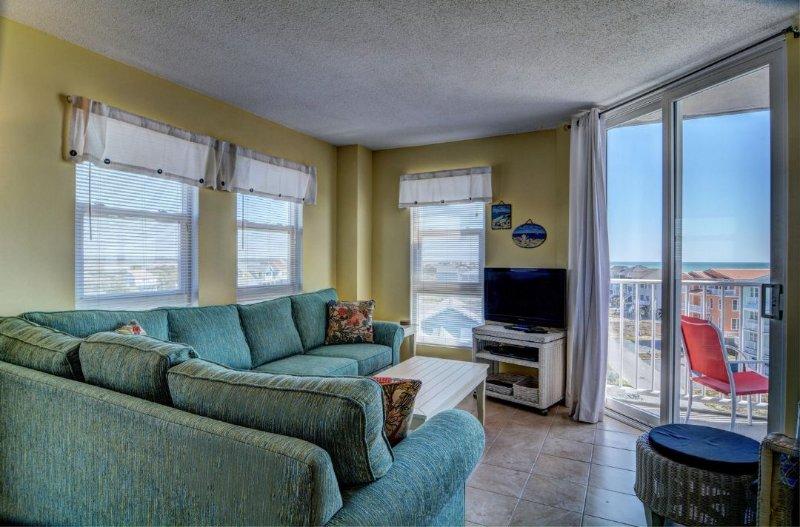 Living Room - St. Regis 3414 Oceanfront! | Indoor Pool, Outdoor Pool, Hot Tub, Tennis Courts - North Topsail Beach - rentals