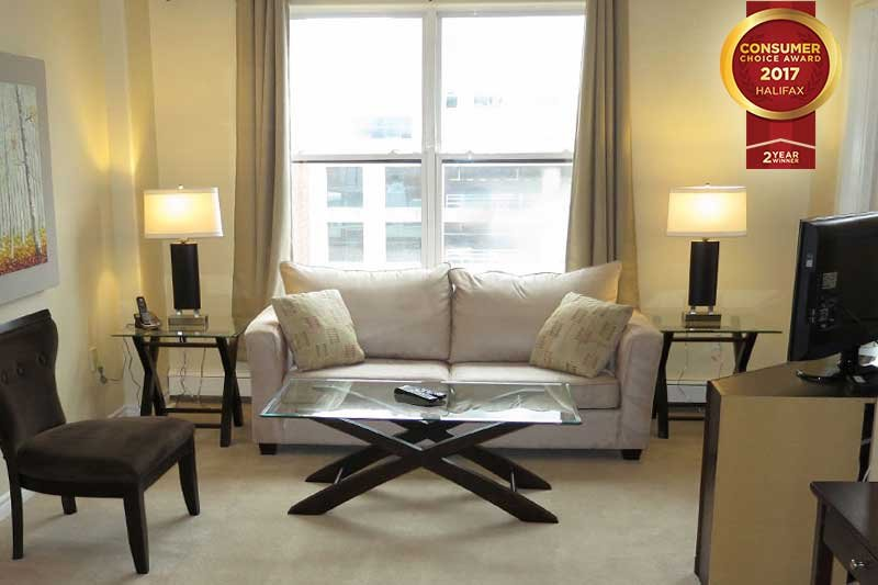 Living Room - Prime Downtown Location - 1 Bedroom Suite with Free Parking - Halifax - rentals
