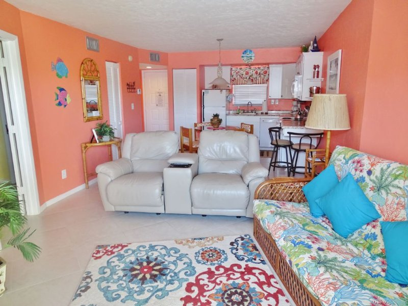 LIving with 2 Comfortable Chairs - Nicely furnished Condo in Popular Waterfront Resort- Come relax and Enjoy - Marco Island - rentals
