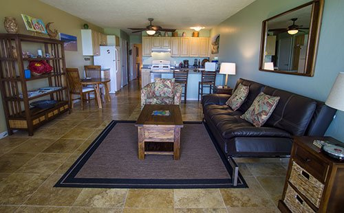 Living area from lanai - Wavecrest A109 - Ualapue - rentals