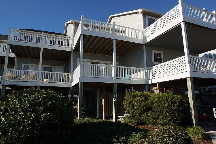 Exterior Front - 3 Gulls & A Buoy-  Ocean views, Spacious decks and Cozy Decor - Surf City - rentals