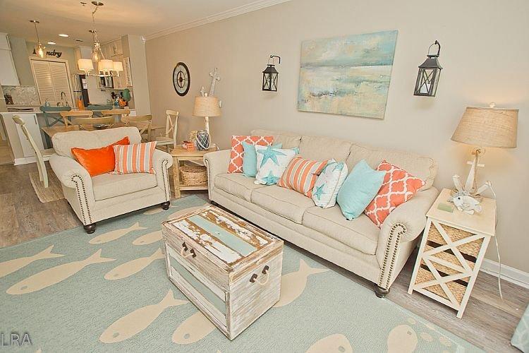 Living Area - 302-A Villa Capriani- Stunning Ocean views, Community Pool & Beach Access. - North Topsail Beach - rentals