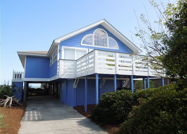 Street Side of the House - Bare Foot'n - Ocean Breezes and Water Views - Folly Beach - rentals