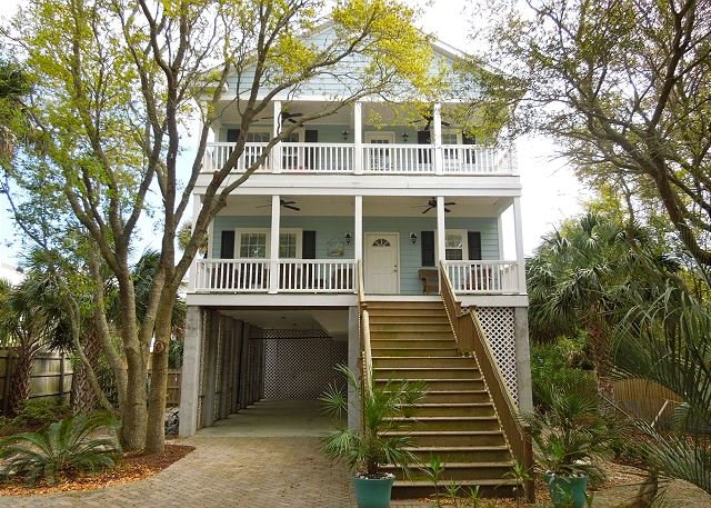 Exterior of Home - Blue Pearl - Pet-Friendly Duplex Near Center Street - Folly Beach - rentals