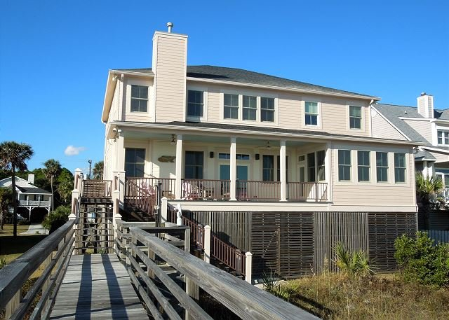 Oceanfront Exterior - Blue Waters - Spacious Home with Views of the Pier - Folly Beach - rentals