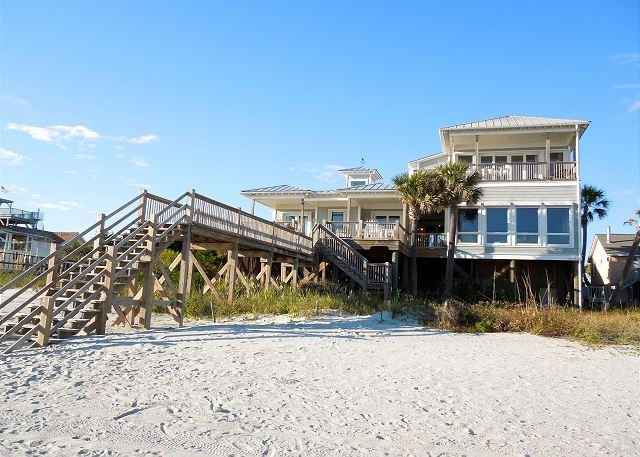 Exterior from Beach - Charisma by the Sea - Elegant Beachfront Home - Folly Beach - rentals