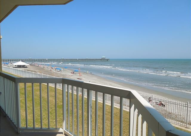 View from Porch - Charleston Oceanfront Villas 112 - First Floor Oceanfront Condo - Folly Beach - rentals