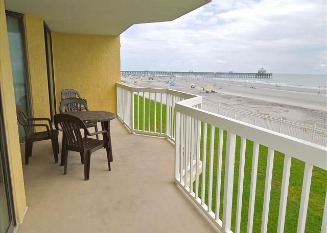 Covered Porch - Charleston Oceanfront Villas 119- Condo with Oceanside Balcony - Folly Beach - rentals