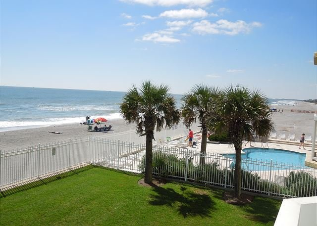 View from Balcony - Charleston Oceanfront Villas 120 - Spacious Oceanfront Condo on 1st Floor - Folly Beach - rentals