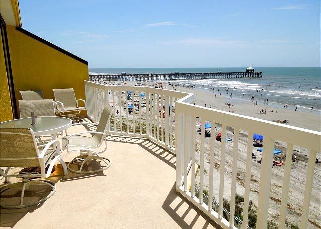 Pier & Ocean View from Deck - Charleston Oceanfront Villas 409- Dolphin Lovers' Retreat - Folly Beach - rentals