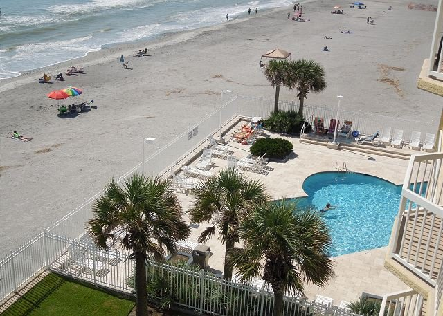 Pool View from Deck - Charleston Oceanfront Villas 420 - Oceanfront Villa with Cheerful Décor - Folly Beach - rentals